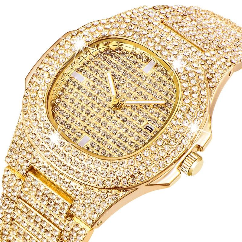 Man Watch 2018 Luxury Brand Design Gold Diamond Watch for Men Square Quartz Watch Waterproof Men Wristwatch Relogio Masculino