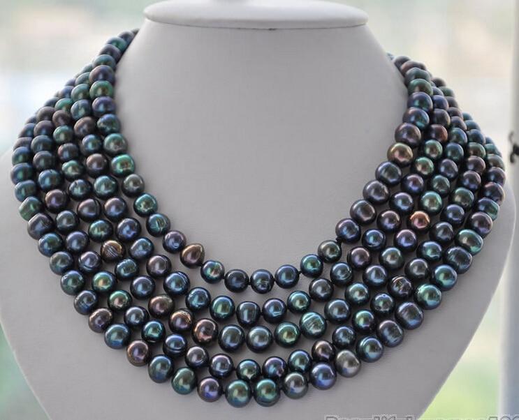 Offre spéciale livraison gratuite>>>>> LONG collier de perles d'eau douce noires paon 7-8mm 100 pouces