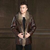 Russian Winter Men Leather Jacket New British Style Fox Fur Collar Thicken Leather Jacket Male Warm Outerwear Windbreaker Jacket