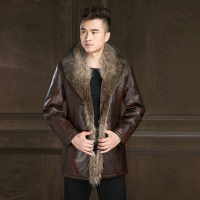 Russian Winter Men Leather Jacket New British Style Fox Fur Collar Thicken Leather Jacket Male Warm Outerwear Windbreaker Jacket