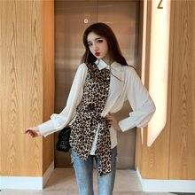 4ddbfecd9cc Уличная леопардовая Мода Весна Осень Топы и блузки хипстер корейские Топы  шифоновая блузка плюс размер женские