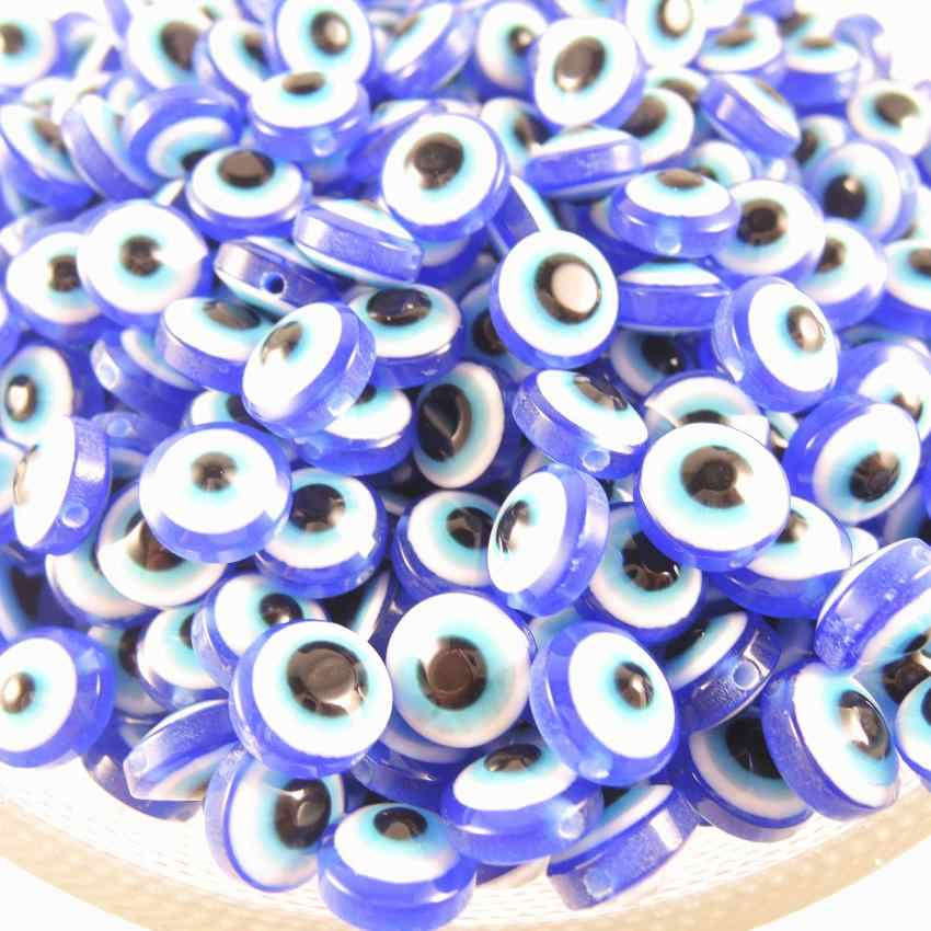 8*5mm 10*5mm Resin Turkey Medusa Dark Blue eye evil Nazar Flat Round Spacer Beads Double Face DIY Jewelry Findings Accessories