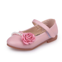 2018New Baby Girl Shoes Children Leather Kids Flower pearl Princess Girls 3 4 5 6 7 8 9 10 11 12 13Years pink beige