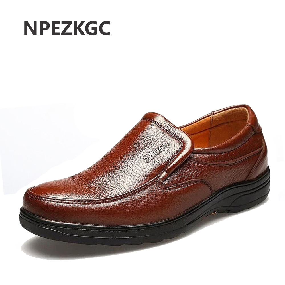 NPEZKGC Men Shoes Genuine-Leather Footwear Comfortable Flats Slip-On Chaussures Zapatos
