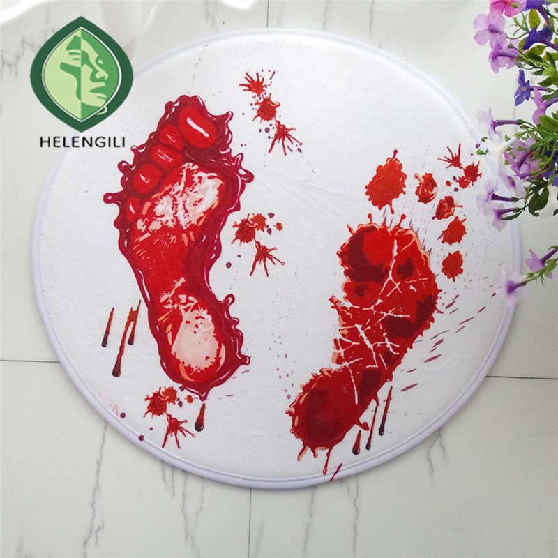 a Circular blood footprints room computer chair basket carpet flannel ...