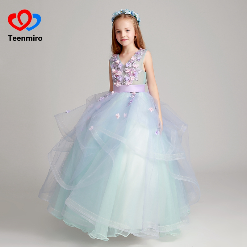 2019 New Ball Gowns for Girls 3D Flower Embroidery Tulle Dress for Wedding Party Kids Prom