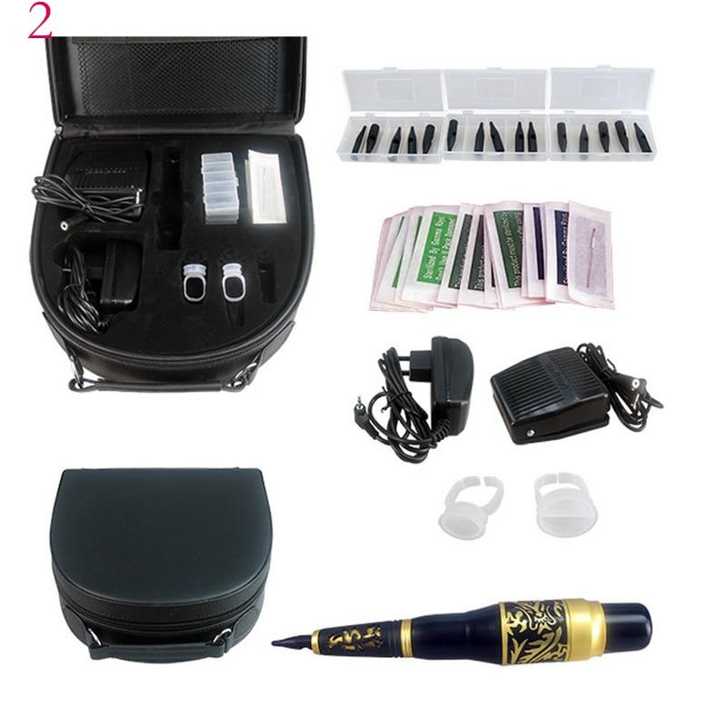 Tattoo 5Color Augenbraue Pen Tattoo Kit Permanent Makeup Augenbrauenmaschine Set Fußschalter Nadelspitze