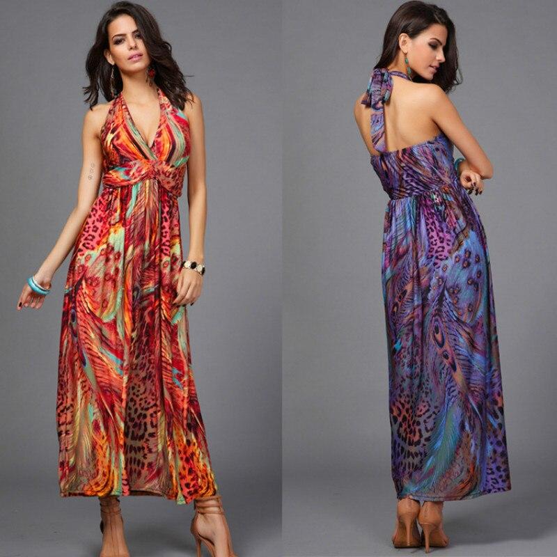 98e4e8fb2d8 Milk Silk Chiffon Dresses Slim Waist Halter V neck Peacock Printing  Colorful Bohemia Sleeveless Long Beach Dress-in Dresses from Women s  Clothing on ...