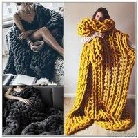 Hand Chunky Knitted Blanket Large Soft Warm Winter Bed Sofa Plane Cobertor Blanket Thick Yarn Merino