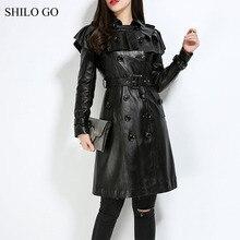 SHILO GO Leather Trench Womens Autumn Fashion sheepskin genuine Leather long coat ruffles collar double breasted belt skirt coat