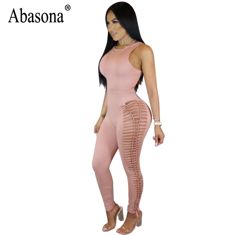 Abasona Women Jumpsuits Sexy Night Club Wear Women Rompers Hollow Out Summer Jumpsuit Bodycon Black Pink Overalls Femme
