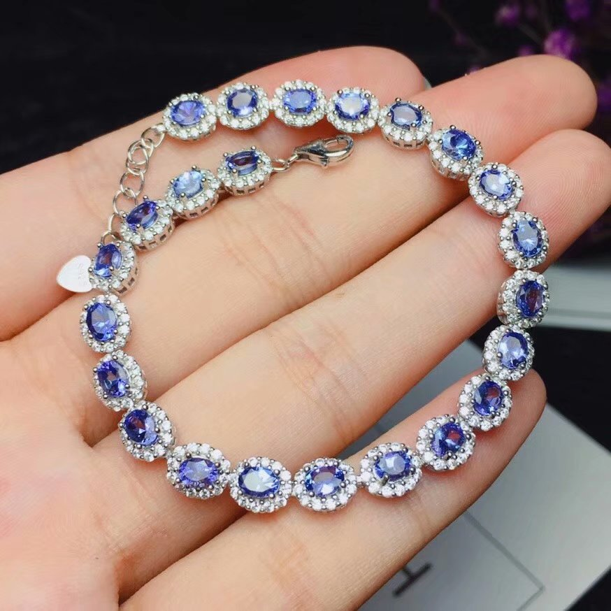 925 sterling silver inlaid with natural <font><b>tanzanite</b></font> <font><b>bracelet</b></font> 3 * 4 mm luxury birthday gift package image
