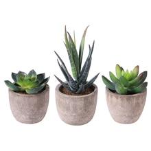 Yapay etli bitkiler Mini yapay Bonsai sahte tencere ile dekoratif topu bitkiler yapay çiçek Mini bitkiler