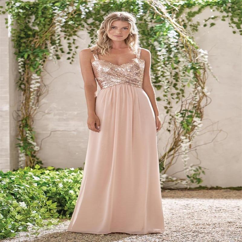 New Rose Gold Bridesmaid Dresses A Line Spaghetti Backless Sequins Chiffon Long Beach Wedding Gust Dress Vestido De Festa