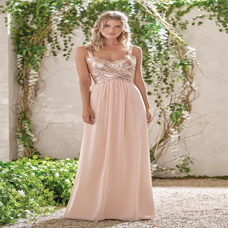New Rose Gold   Bridesmaid     Dresses   A Line Spaghetti Backless Sequins Chiffon Long Beach Wedding Gust   Dress   vestido de festa
