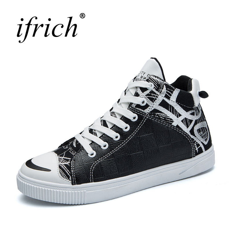 Men Luxury Brand Leather Fashion Shoes Comfortable Male Flat Walking Shoes Lace Up Black White Man Casual Footwear Cheap high quality men fashion black white leather paint splatter low top casual shoes unisex luxury brand spring autumn flat shoes