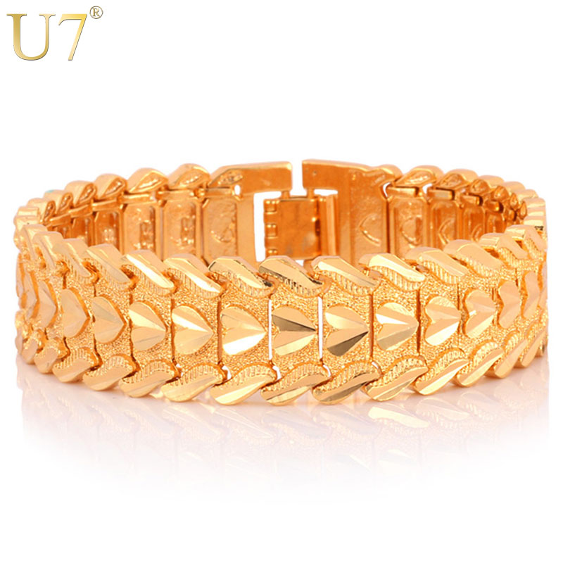 U7 Gold Color Heart Bracelet Jewelry Wristband 17MM 20CM Chunky Big Chain Bracelets Bangles For Men Fathers Day Gifts H684U7 Gold Color Heart Bracelet Jewelry Wristband 17MM 20CM Chunky Big Chain Bracelets Bangles For Men Fathers Day Gifts H684