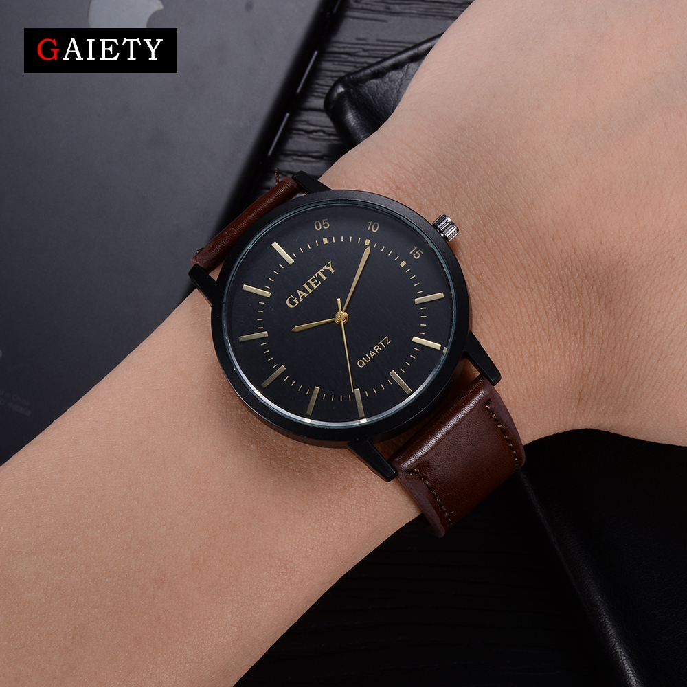 Gaiety Brand 2017 New Men Luxury Mens Watches Causal Sport Leather Wristwatch Luxury Dress Business Vintage Quartz Watch G458