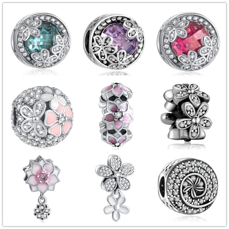 YANXIZAO 925 Silver Flower série Tvar Love Fit Pandora náramek Kouzla Korálky DIY Náramek Šperky Šperky Den matek