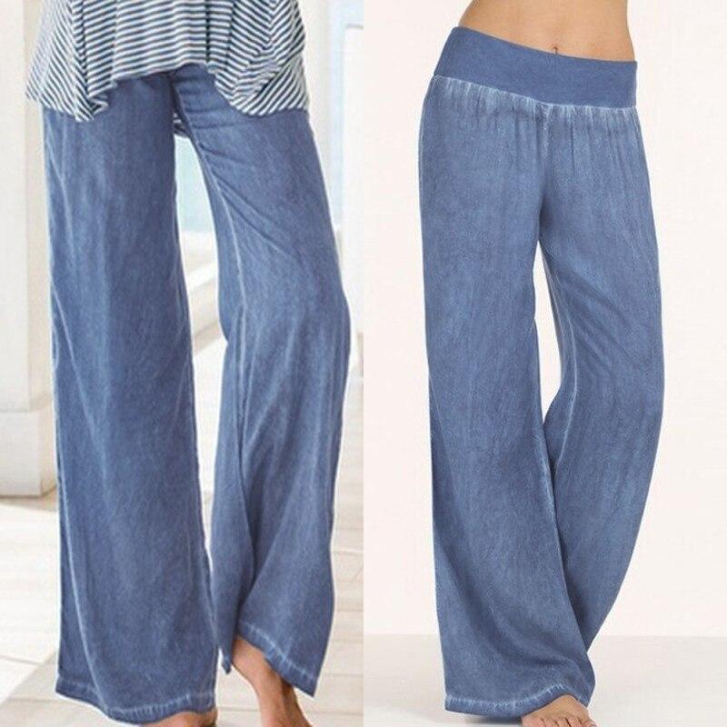 5XL Celmia Women Bottoms Denim Blue   Wide     Leg     Pants   Jeans 2019 High Elastic Waist Long Pantalon Femme Solid Casual Loose Trousers