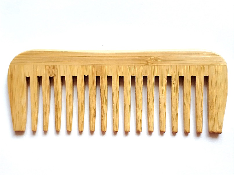 1PCS Natural Bamboo Wood Wide Tooth Comb Wholesale No Handle Comb For Men Beard Care/For Women Hair Care Engrave Logo 14.8X5.5CM