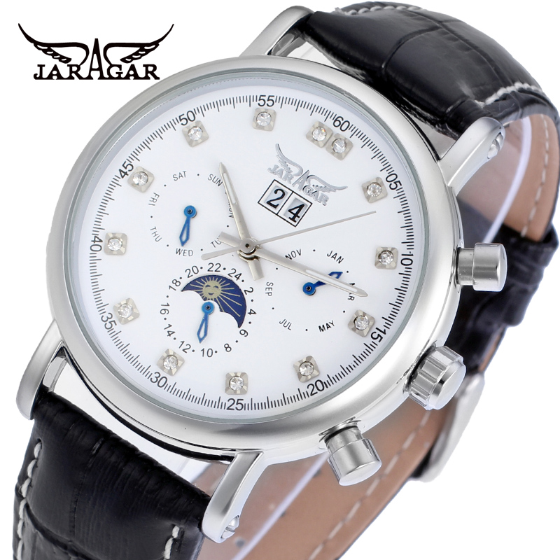 Jargar new Automatic silver color men wristwatch tourbillon black leather strap shipping free все цены