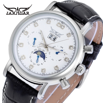 Jargar new Automatic silver color men wristwatch tourbillon black leather strap  shipping free