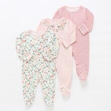 Детские комбинезоны; комплект из 3 предметов; Пижама с цветочным принтом; Пижама для маленьких девочек; Одежда для новорожденных мальчиков; Комбинезон для маленьких девочек; комбинезон для малышей; нижнее белье из хлопка