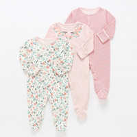 Peleles de 3 uds. Para bebé, pijama de flores, pijamas para niña bebé recién nacido, ropa para bebé, Mono para bebé, ropa interior de algodón