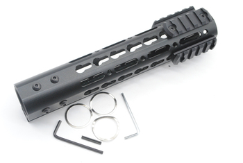 TriRock New Arrive 9'' Length NSR Key Mod Handguard Rail Mount  Aluminum/Steel Barrel Nut with 3 piece picatinny  rail section