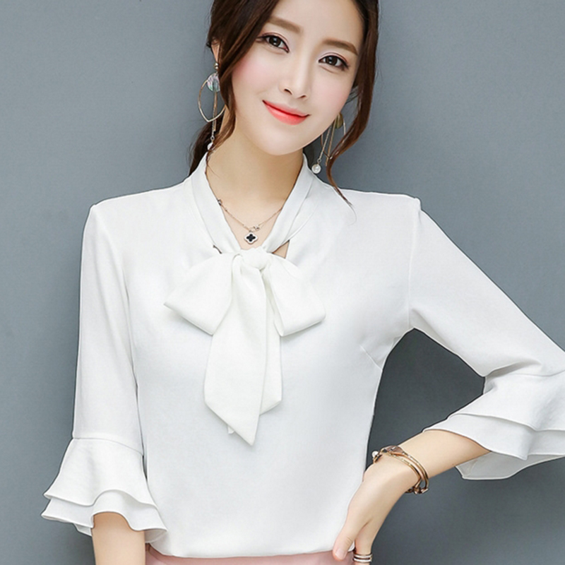 a3de6b250e9 Bow Deor Lady Chiffon Blouses Plus Size S 4XL Butterfly Sleeve Tops 2017  Elegant Women Casual White Shirts -in Blouses   Shirts from Women s Clothing  on ...
