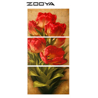 ZOOYA Wall Stickers Diamond Embroidery 3d DIY Diamonds Painting Cross Stitch Triptych Paintings Tulip Flowers Home