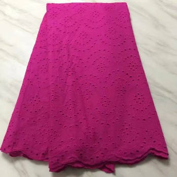 African lace fabric 5yds/pce dhl Swiss Voile Lace Switzerland Cotton magenta African Cotton women gorgeous dress 2019 new design