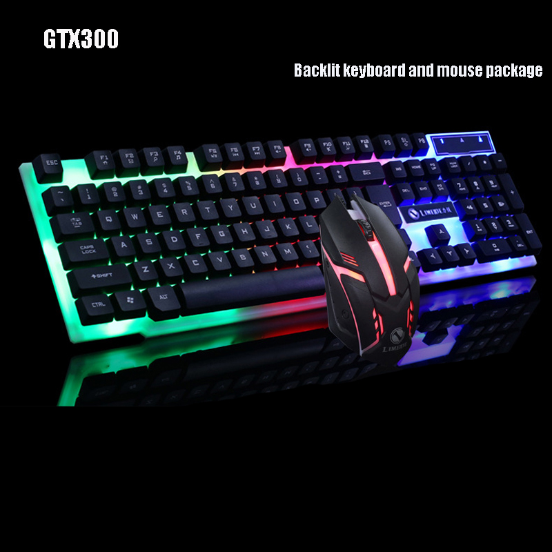 GTX300 LED Backlit English Keyboard+mouse Combos 7colors Backlit gaming keyboard Wired USB PC Computer keyboard sunsonny t m30 usb wired 6 button 600 1000 1600dpi adjustable led gaming mouse golden red