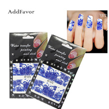 AddFavor Style Blue Flower Nail Art Sticker Water Transfer Nail Decal Tips Decor Fingernail Nail Tool Beauty Diy Nail Stickers