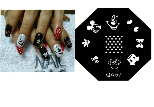 Qa57 Hot Sale Diy Nail Art Lovely Mouse Cartoon Stamping Plates