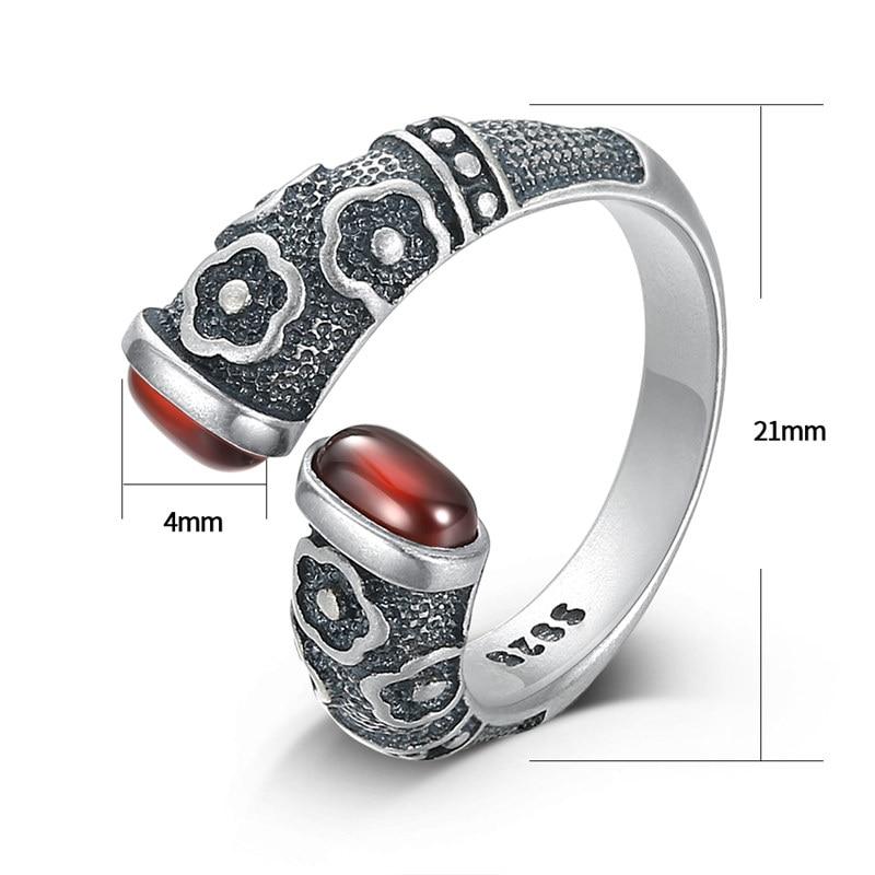 Image 4 - V.YA Retro Red Garnet Rings 925 Sterling Silver Ring for Women Female Natural Semi precious Stone Jewelry Birthday GiftRings   -