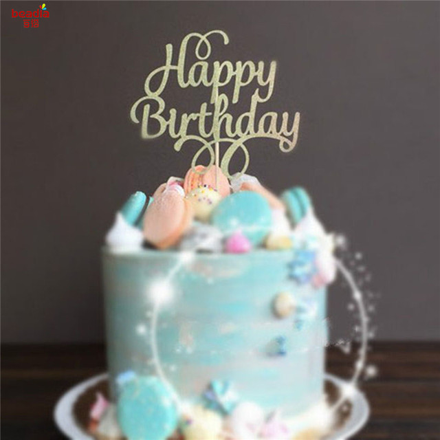 1pc DIY Cupcake Cake Topper Happy Birthday Baking Flags For Festive Party Supplies Event
