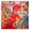 Гарантия 100% Шелк Шарф Женщин Шарф Стул & Цветок Хиджаб 2017 женский Большой Бандана Посреди Площади Шелковый Шарф Горячий Подарок для Леди