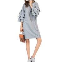 Kobiety W Stylu Vintage Sukienki New Arrival Europejski Styl Jesień Zima Sukienka Wielowarstwowa Wzburzyć Rękawem Tunika Tee Dress Vestido De Festa