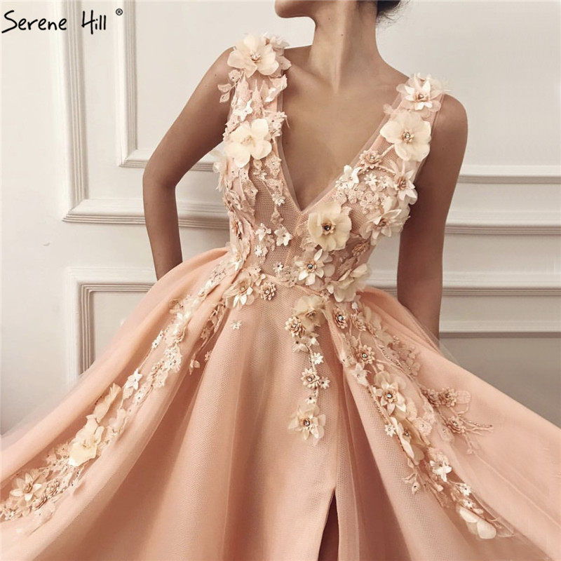 Peach Deep-V A-Line Sexy Prom Dresses Diamonds Handmade Flowers Tulle Ball Gown 2019 Serene Hill BLA60867
