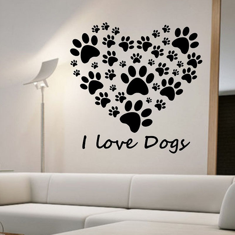 I Love Dogs Paw Print Wall Stickers Heart Removable DIY