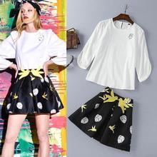 Top Grade New Designer Shorts Set Women Summer 2016 Ladies Cute Face Print White Blouse+Cartoon Print Skirt Shorts(1Set)2 pieces
