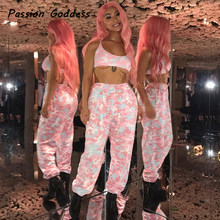 Casual Frauen Rosa Militärcamo Pluderhosen HipHop Tanz Baumwolle Jogginghose Lange Camouflage Baggy Trousers Femme Pantalon Mujer(China)