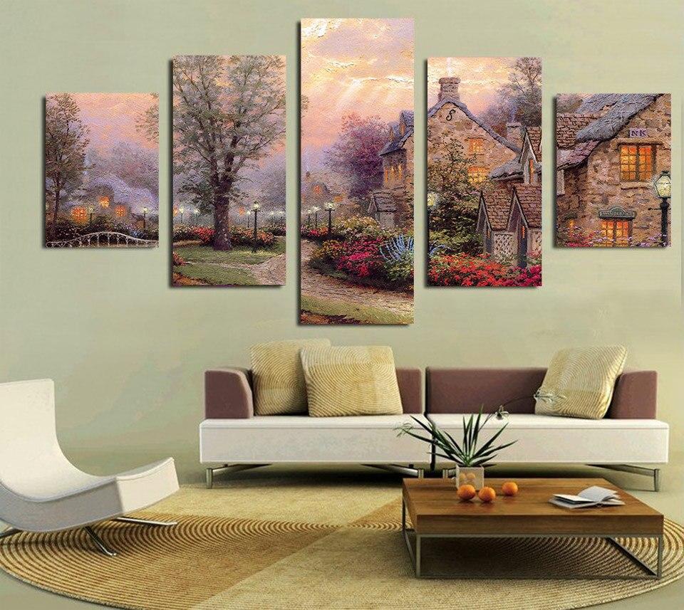 casa moderna con el estrecho camino paisaje pinturas de quadros parede cuadros para la sala de bodas decoracin de la venta cali