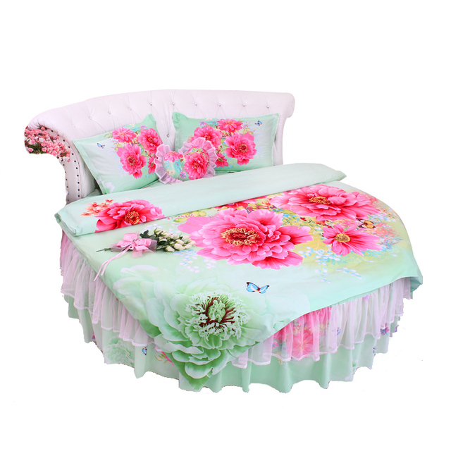Palace GREEN Color RED Peony Sweet Round Bed Princess Bedding Sets King Size Duve Tcover Pillowcase LACE Bedskirt Cotton