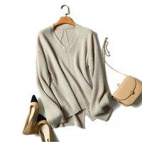2018 Осенняя мода v образным вырезом женские кашемировый свитер пуловеры высокое качество 100% Pure кашемировый свитер одежда с длинным рукавом в