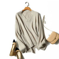 2018 Autumn Fashion V neck Womens Sweater Cashmere Pullovers High Quality 100% Pure Cashmere Sweater Long Sleeves Korea Sweater