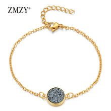 ZMZY Bracelet Exquisite Fashion Nature Stone Druzy Adjustable Gold Color Chain Paillette Valentines Day Gift