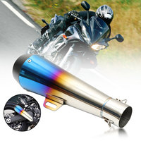 38 51mm Silver Blue Stainless Steel GP Exhaust Muffler Pipe For Kawasaki Ninja Z250 Yellow dragon 600 CB400 Motor Scooter
